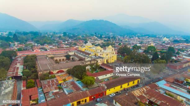 Aerial view of colonial church of Nuestra Señora de la Merced an city of Antigua, Guatemala