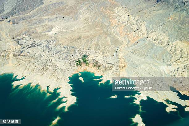 Aerial View Of Colorado River By Desert