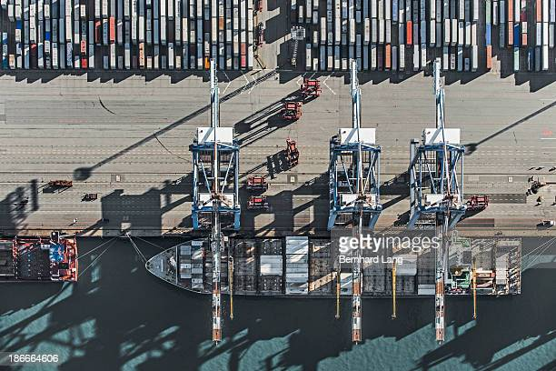 Aerial view of Container ship at the docks