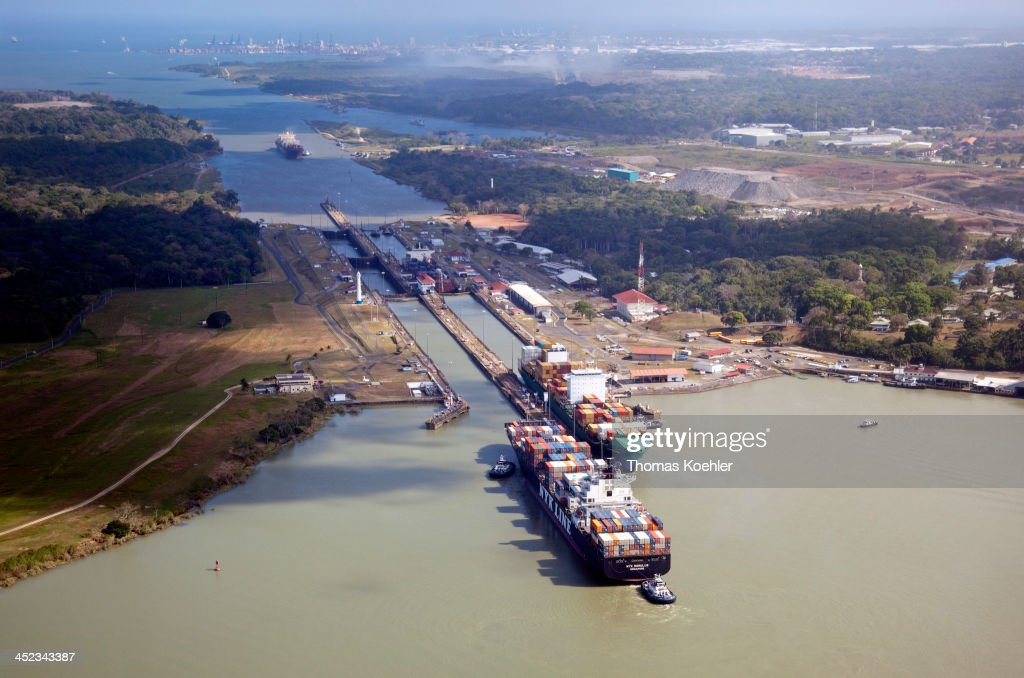 Aerial view of container ships in a lock on the Panama Canal on February 18 in Gatun Panama