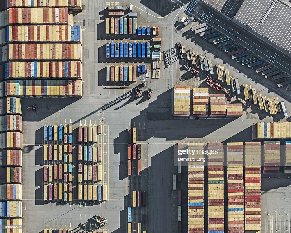 Aerial view of containers terminal