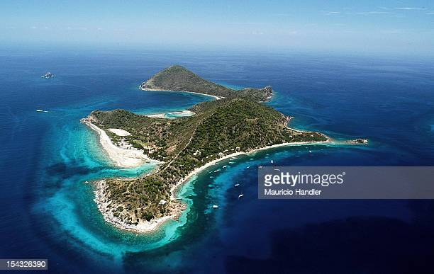 Aerial view of Cooper Island, British Virgin Islands.