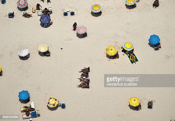 Aerial view of Copacabana Beach in Rio de Janeiro Brazil on February 3 2016 With temperatures reaching the 3640 degrees Celsius tourists and...