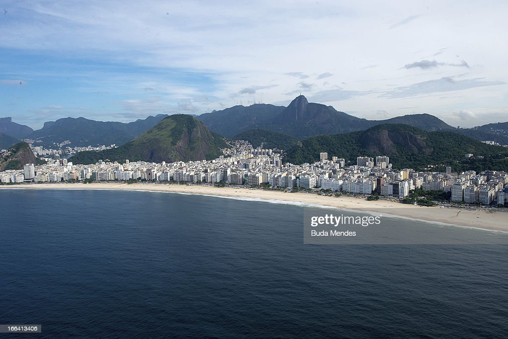 Aerial view of Copacabana Beach on April 11, 2013 in Rio de Janeiro, Brazil.