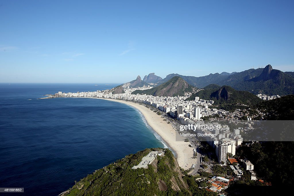 Aerial view of Copacabana Beach with nearly one year to go to the Rio 2016 Olympic Games on July 21 2015 in Rio de Janeiro Brazil The Copacabana...