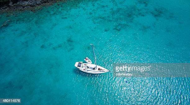 aerial view of couple relaxing on sailboat in the Caribbean