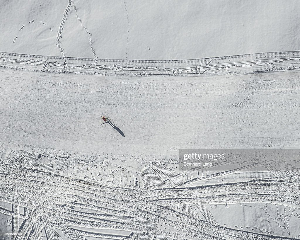 Aerial view of cross country skier on track
