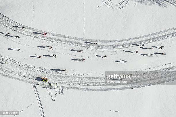 Aerial view of cross country skiers racing