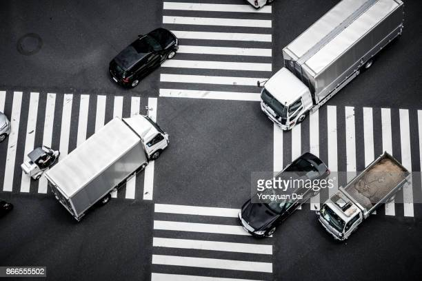 Aerial View of Crossroad in Ginza