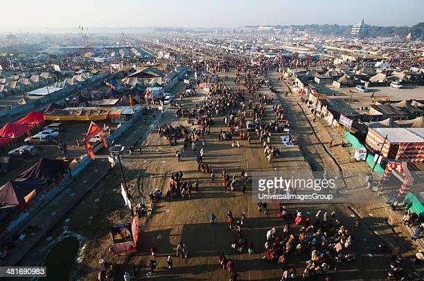 Aerial view of crowd and residential tents at Maha Kumbh Allahabad Uttar Pradesh India