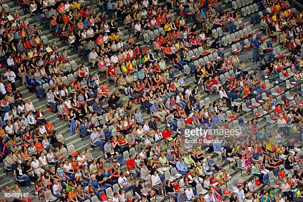 Aerial view of crowd of spectators.