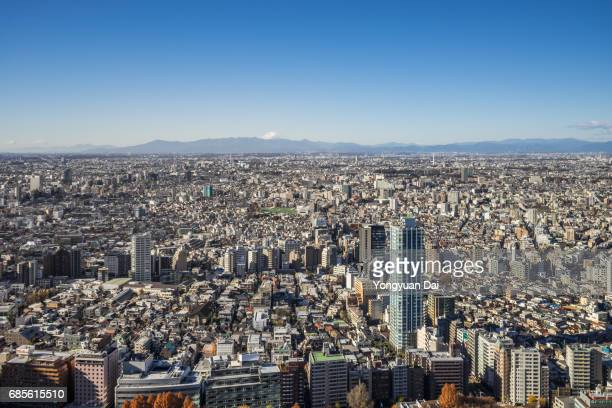 Aerial View of Crowded Buildings in Tokyo with Mt. Fuji