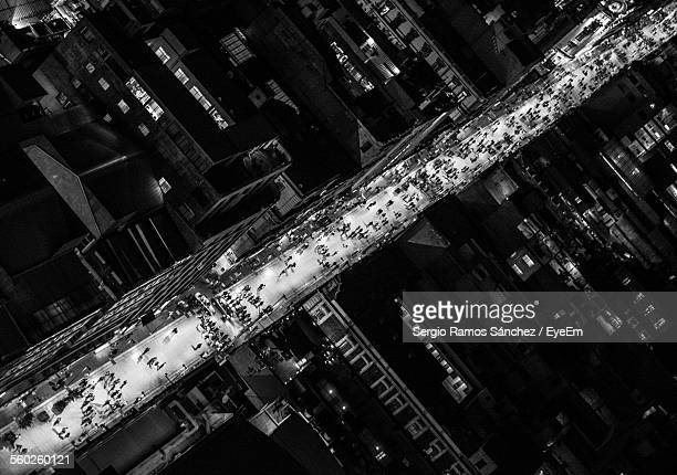 Aerial View Of Crowded City Street