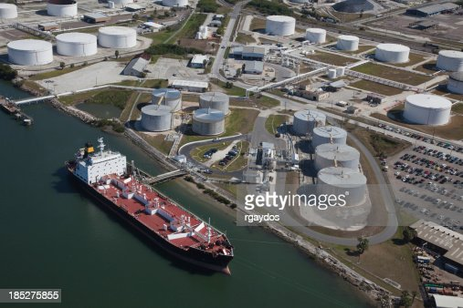 Aerial View of Crude Oil Tanker and Storage Tanks