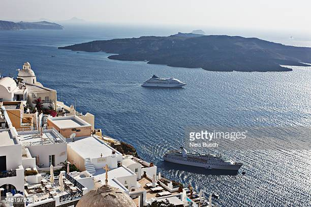 Aerial view of cruise ships on coast