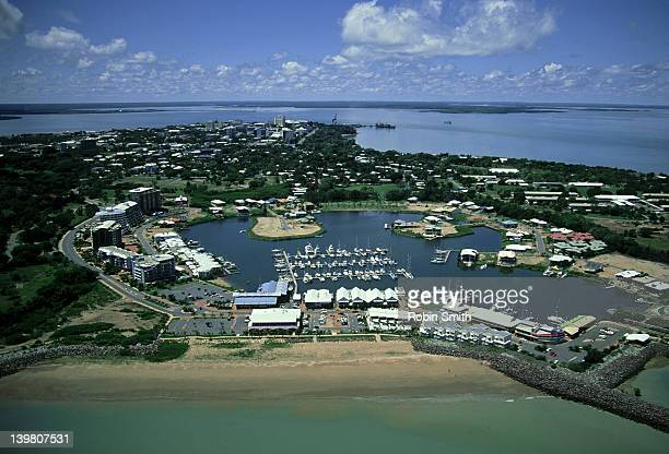 Aerial view of Cullen Bay Marina & city, Darwin, NT, Australia