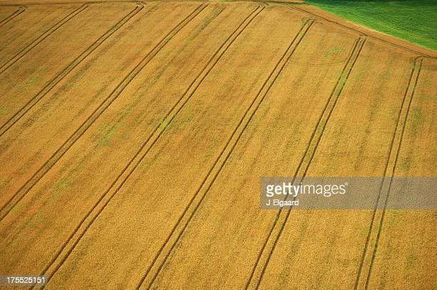 Vue aérienne de la terre cultivée avec de superbes lignes diagonales