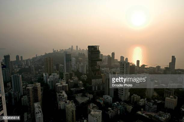 Aerial view of cumballa hill and Antilia at Mumbai, maharashtra, India