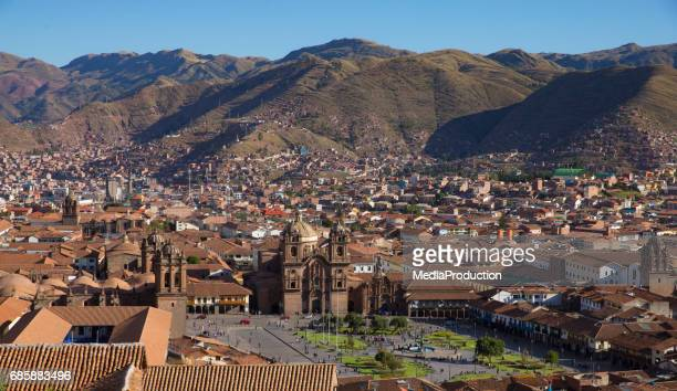 Aerial view of Cusco city in Peru