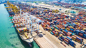 Aerial view of  Deep water port with cargo ship and container