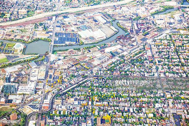 Aerial view of densely populated Chicago