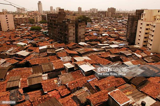 Aerial View of Dharavi Slum in Mumbai maharashtra India