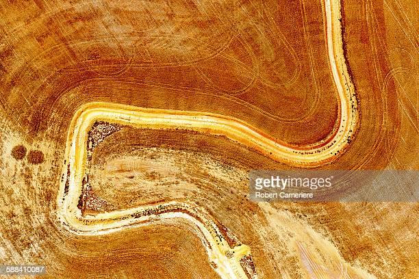 Aerial view of dirt road