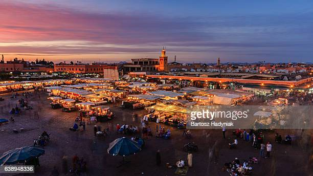 Aerial view of  Djemaa el Fna square, Marrakech, Morocco.