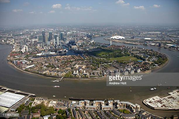 Aerial view of Docklands and Canary Wharf, London