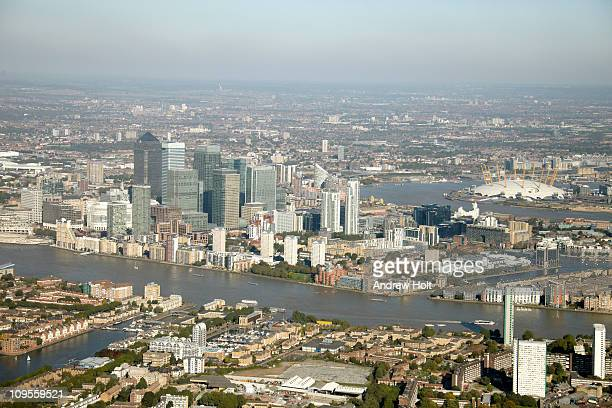 Aerial view of Docklands, Canary Wharf and O2 Dome