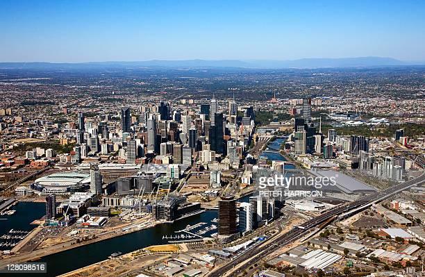 Aerial view of Docklands, Melbourne, Victoria, Australia