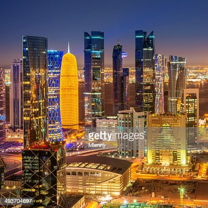 Aerial View of Doha City Skyline Qatar
