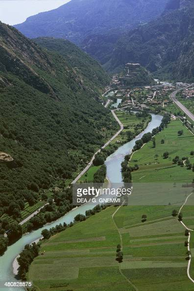 Aerial view of Dora Baltea River near Bard Province of Aosta Valle d'Aosta Region Italy
