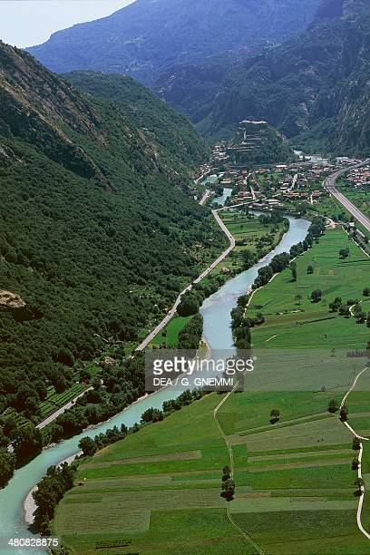 Aerial view of Dora Baltea River near Bard Province of Aosta Valle d'Aosta Region Italy