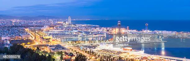 Aerial View of Downtown Barcelona Spain at twilight