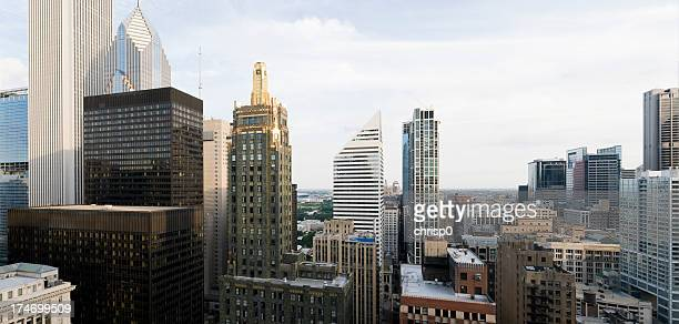 Aerial view of downtown Chicago buildings on a cloudy day
