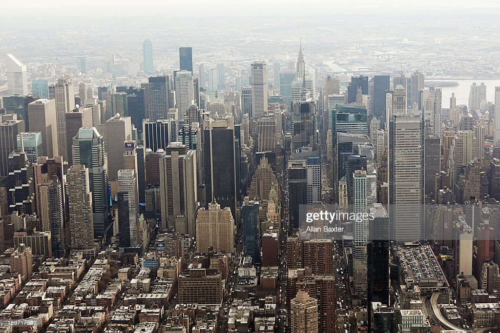 Aerial view of Downtown Manhattan : Stock Photo