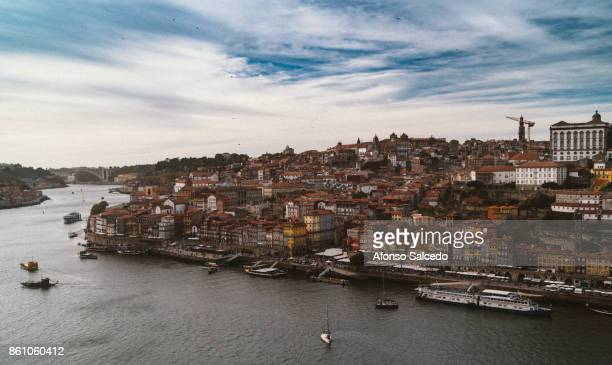 Aerial view of downtown Porto (Portugal), a world heritage site by UNESCO