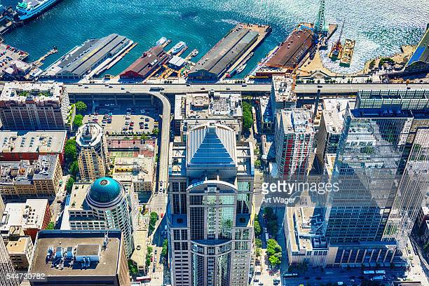 Aerial View of Downtown Seattle and Waterfront