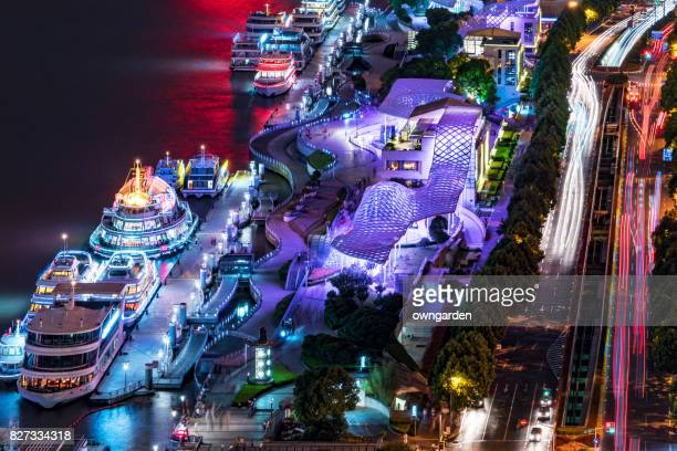 Aerial View of Downtown Shanghai at night