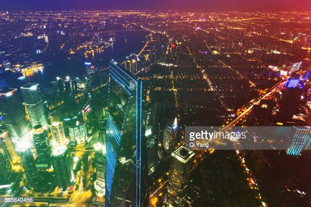 Aerial view of downtown Shanghai, China