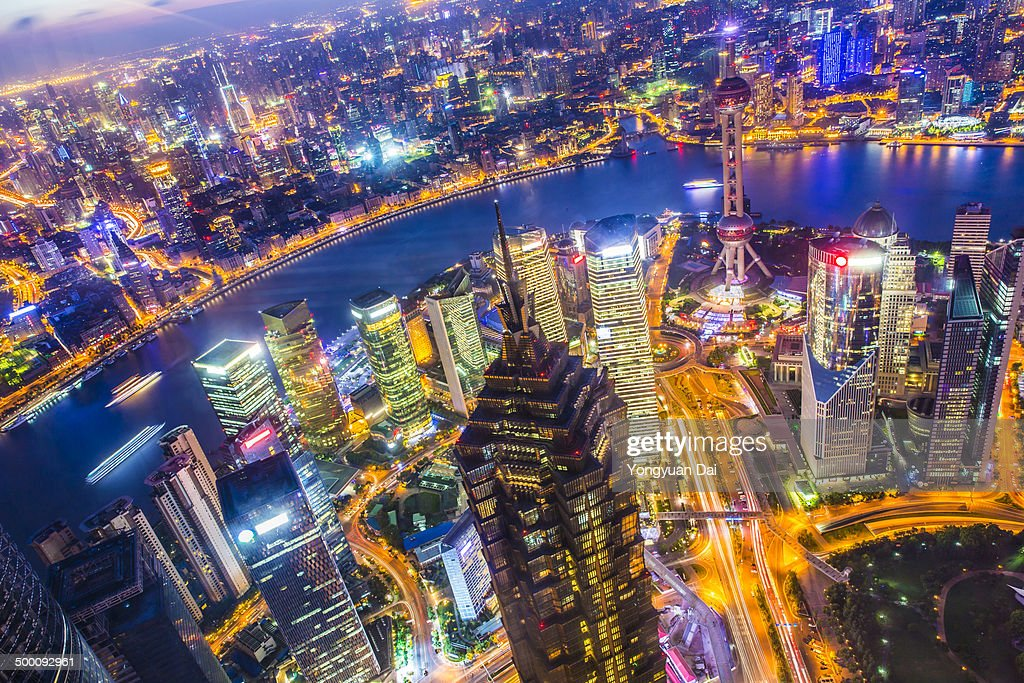 Aerial View of Downtown Shanghai