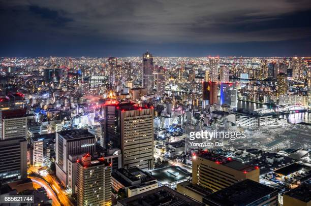 Aerial View of Downtown Tokyo at Night