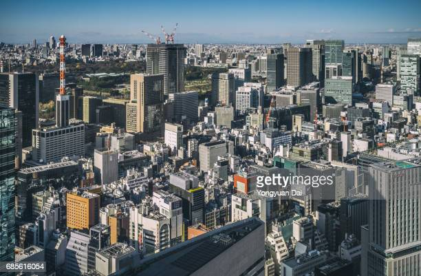 Aerial View of Downtown Tokyo