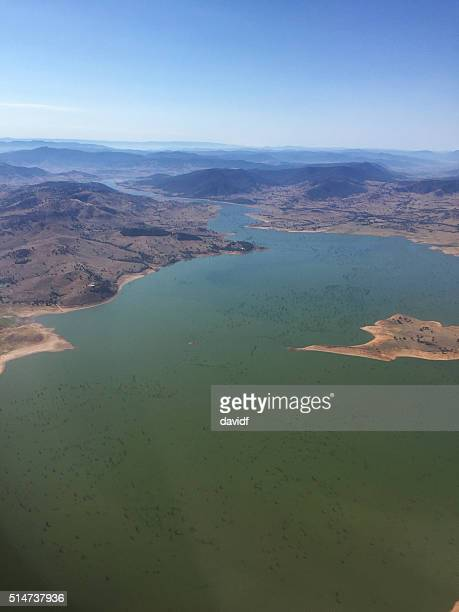 Aerial View of Drought Depleted Lake Hume, Australia