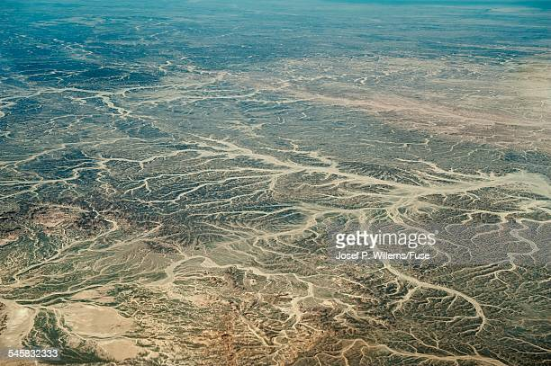 Aerial view of dry rivers