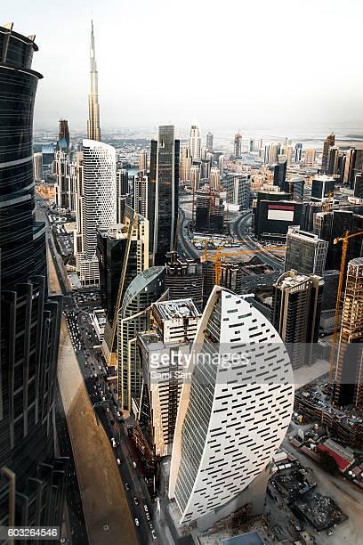 Aerial view of Dubai city sky line