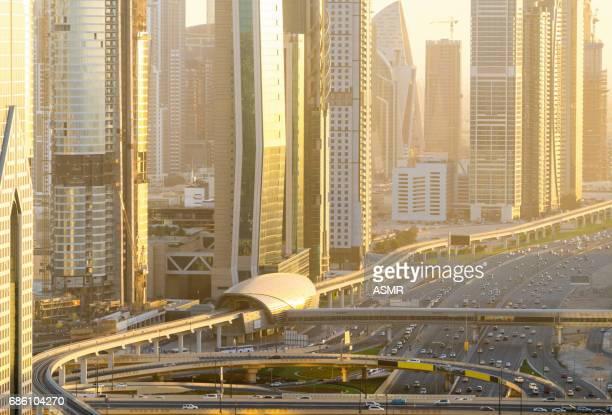 Aerial view of Dubai Highway