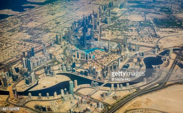Aerial view of Dubai skyline from aeroplane