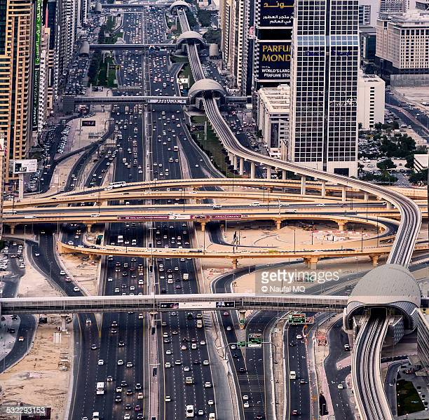 Aerial view of Dubai traffic